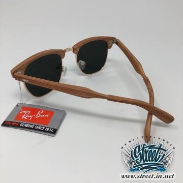 Очки солнцезащитные Ray Ban с тонированным стеклом и деревянной оправой